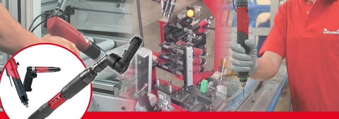 Desoutter Industrial Toolsは、様々な航空・自動車産業向けシャットオフ空気圧スクリュードライバーを製作しています。デモをご依頼ください!